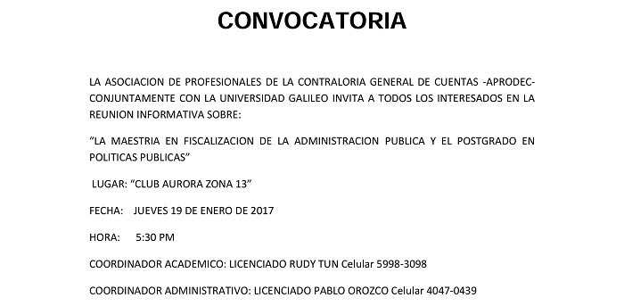 CONVOCATORIA UNIVERSIDAD GALILEO
