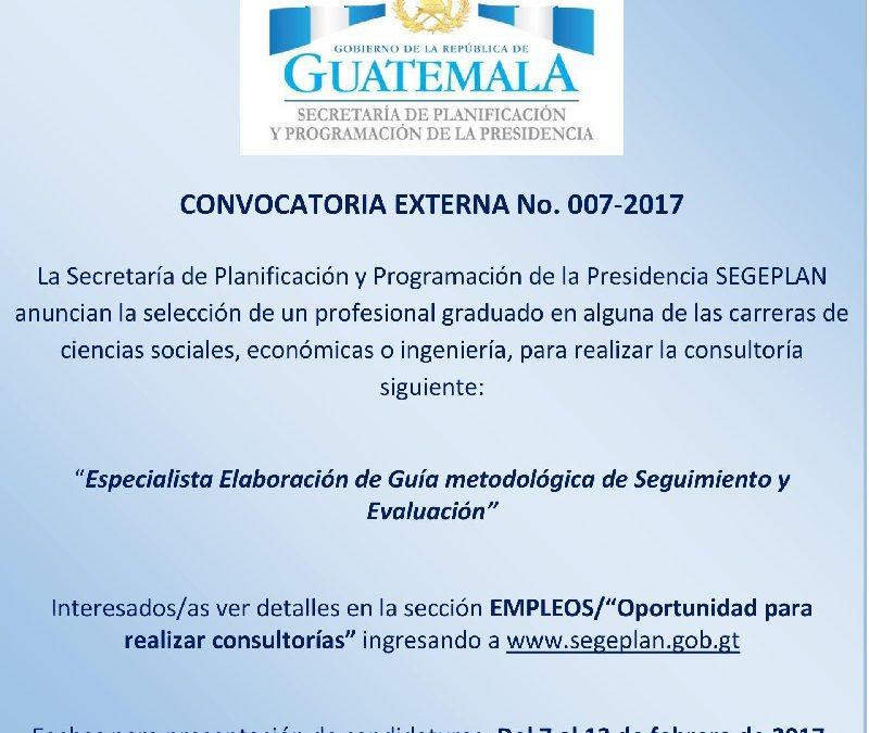 """""""ESPECIALISTA ELABORACIÓN DE GUÍA METODOLÓGICA DE SEGUIMIENTO Y EVALUACIÓN"""""""