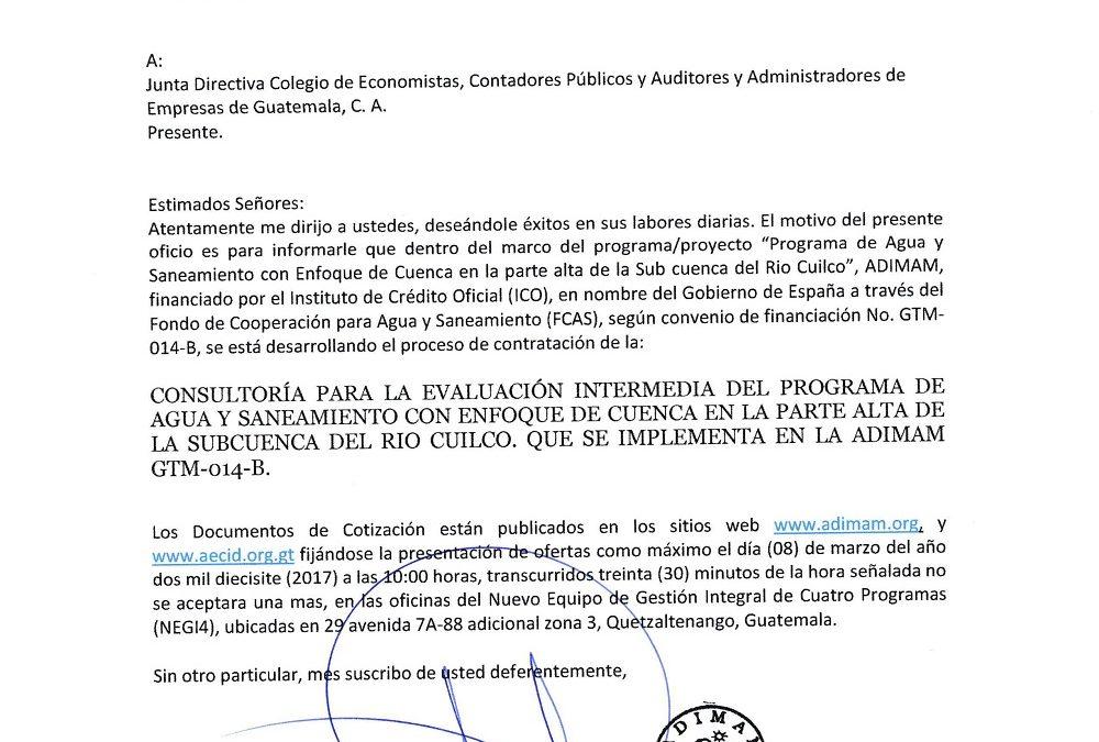 CONSULTORÍA PARA LA EVALUACIÓN INTERMEDIA DEL PROGRAMA DE AGUA Y SANEAMIENTO CON ENFOQUE DE CUENCA EN LA PARTE ALTA DE LA SUBCUENCA DEL RÍO CUILCO