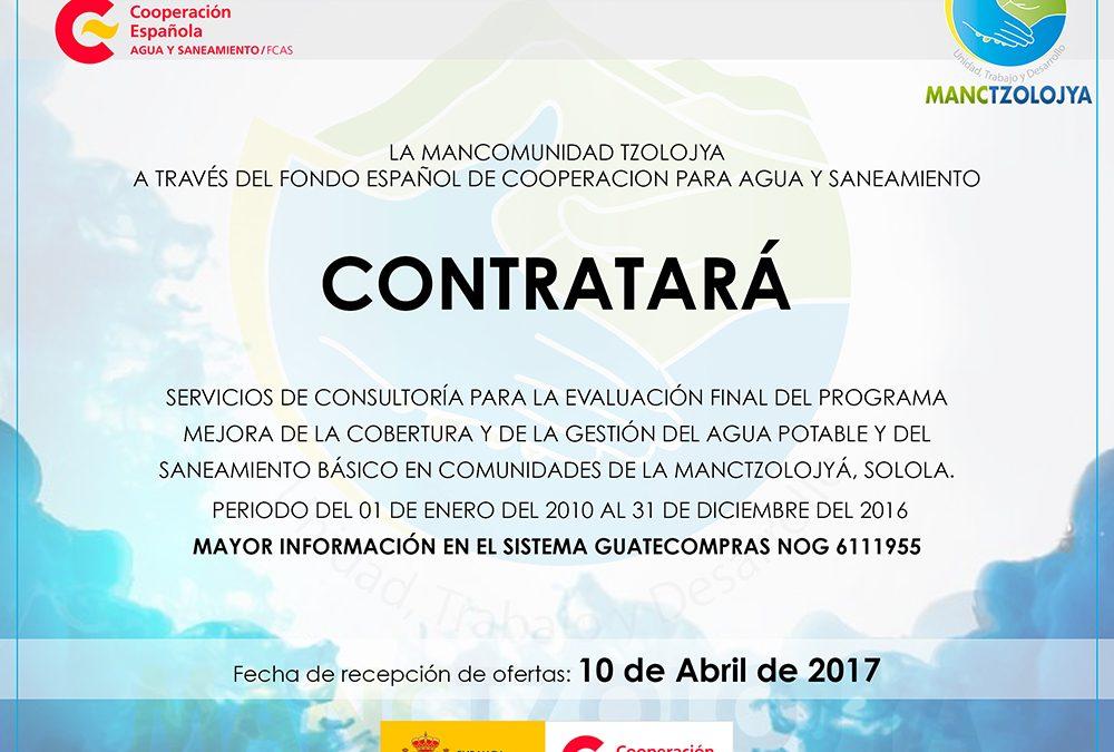 CONTRATACIÓN DE CONSULTOR PARA LA EVALUACIÓN DE PROGRAMA