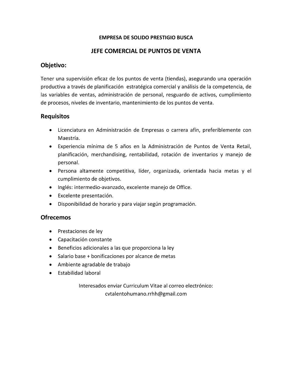 JEFE COMERCIAL DE PUNTOS DE VENTA | Colegio