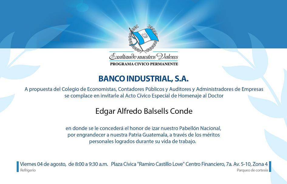 ACTO CIVICO ESPECIAL DE HOMENAJE AL DOCTOR EDGAR ALFREDO BALSELLS CONDE