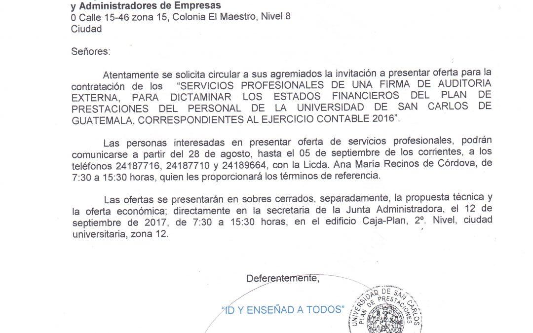 SERVICIOS PROFESIONALES DE UNA FIRMA DE AUDITORIA EXTERNA