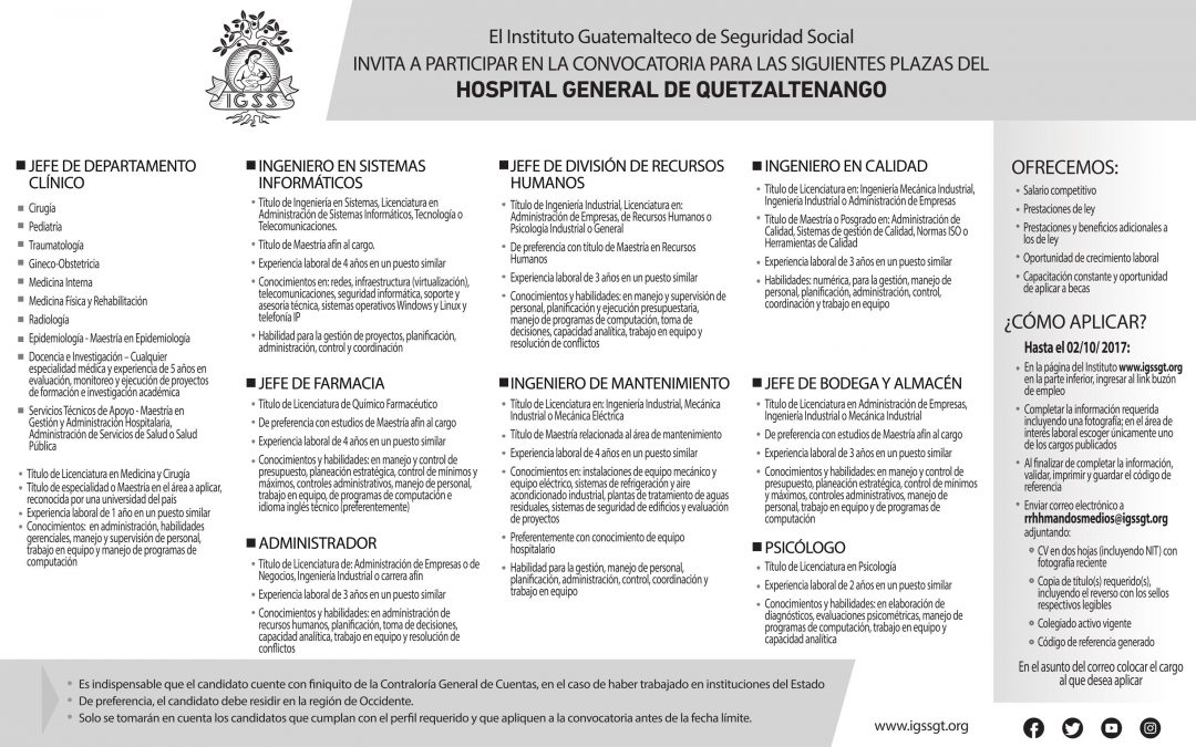 Convocatoria a plazas hospital general de quetzaltenango for Convocatoria para plazas docentes 2017