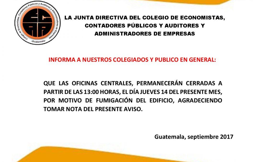 CIERRE OFICINAS CENTRALES JUEVES 14 DE SEPTIEMBRE POR FUMIGACIÓN DE EDIFICIO