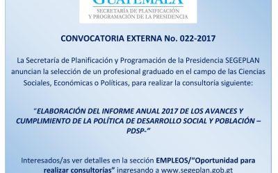 CONVOCATORIA EXTERNA PARA CONSULTORIA No. 22-2017
