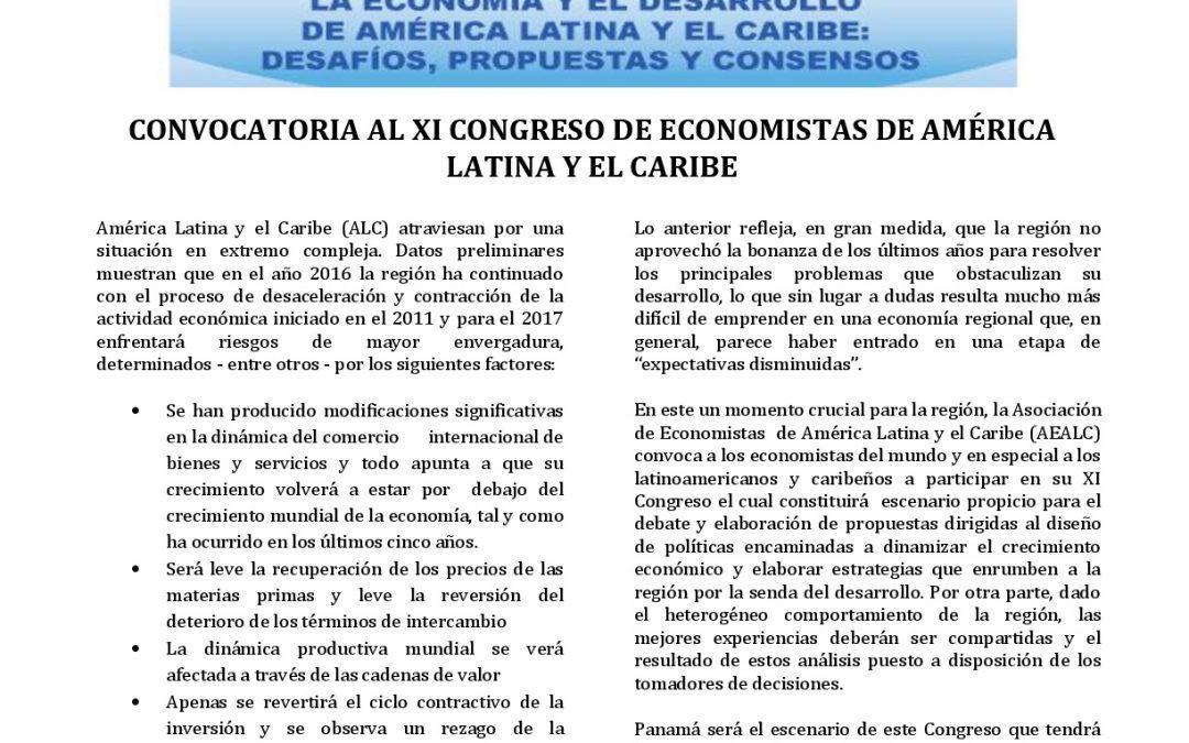 XI CONGRESO DE ECONOMISTAS DE AMERICA LATINA Y EL CARIBE Y PRIMER ENCUENTRO NACIONAL SOBRE DESARROLLO SOSTENIBLE EN PANAMÁ