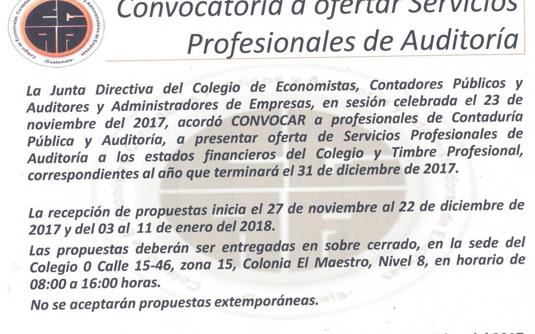 CONVOCATORIA A OFERTAR SERVICIOS PROFESIONALES DE AUDITORIA